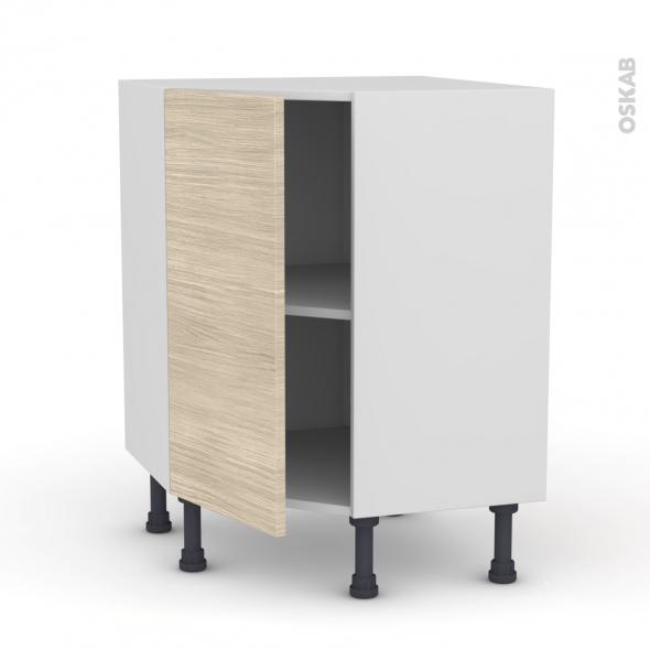 Meuble de cuisine - Angle bas - STILO Noyer Blanchi - 1 porte N°19 L40 cm - L65 x H70 x P37cm
