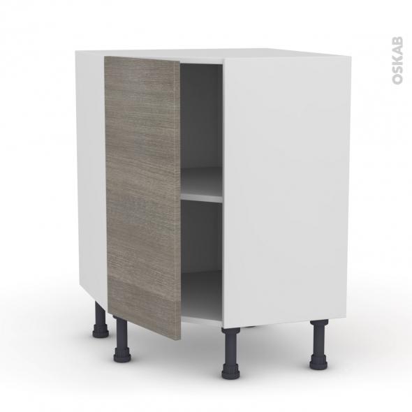 Meuble de cuisine - Angle bas - STILO Noyer Naturel - 1 porte N°19 L40 cm - L65 x H70 x P37cm