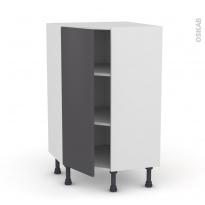Meuble de cuisine - Angle bas - GINKO Gris - 1 porte N°23 L40 cm - L65 x H92 x P37cm