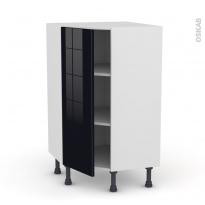 Meuble de cuisine - Angle bas - KERIA Noir - 1 porte N°23 L40 cm - L65 x H92 x P37cm