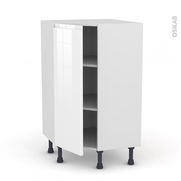 Meuble de cuisine - Angle bas - IPOMA Blanc brillant - 1 porte N°23 L40 cm - L65 x H92 x P37cm