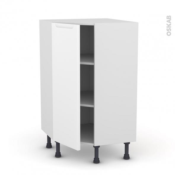 PIMA Blanc - Meuble angle prof.37  - 1 porte N°23 L40 - L65xH92xP37