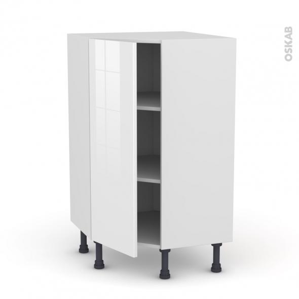Meuble de cuisine - Angle bas - STECIA Blanc - 1 porte N°23 L40 cm - L65 x H92 x P37cm