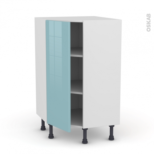 Meuble de cuisine - Angle bas - KERIA Bleu - 1 porte N°23 L40 cm - L65 x H92 x P37cm