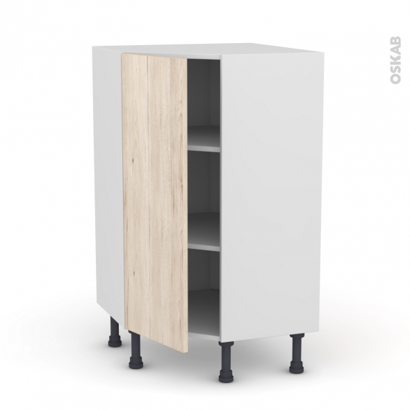 Meuble de cuisine - Angle bas - IKORO Chêne clair - 1 porte N°23 L40 cm - L65 x H92 x P37cm