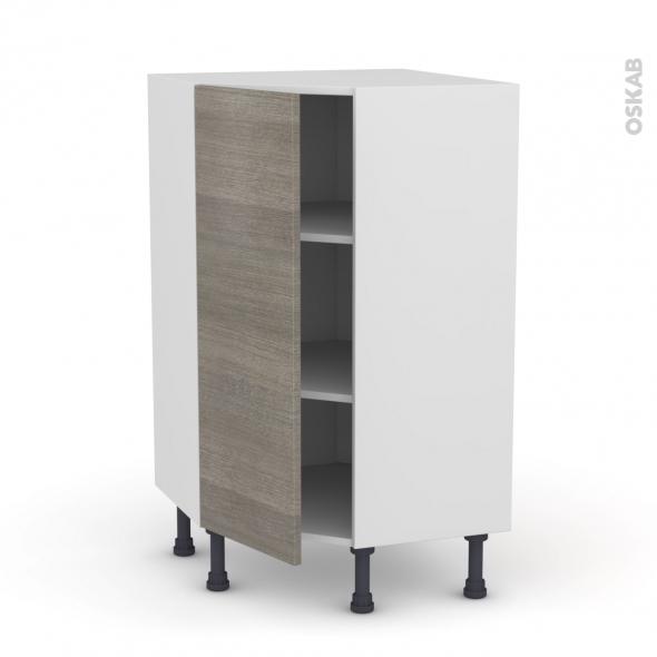 Meuble de cuisine - Angle bas - STILO Noyer Naturel - 1 porte N°23 L40 cm - L65 x H92 x P37cm