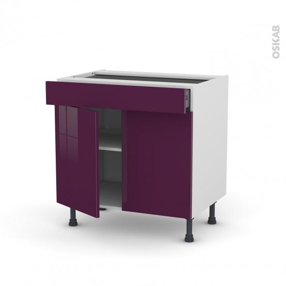 Meuble de cuisine - Bas - KERIA Aubergine - 2 portes 1 tiroir - L80 x H70 x P58 cm