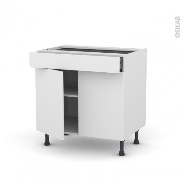 Meuble de cuisine - Bas - GINKO Blanc - 2 portes 1 tiroir - L80 x H70 x P58 cm