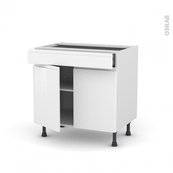 Meuble de cuisine - Bas - IPOMA Blanc brillant - 2 portes 1 tiroir - L80 x H70 x P58 cm