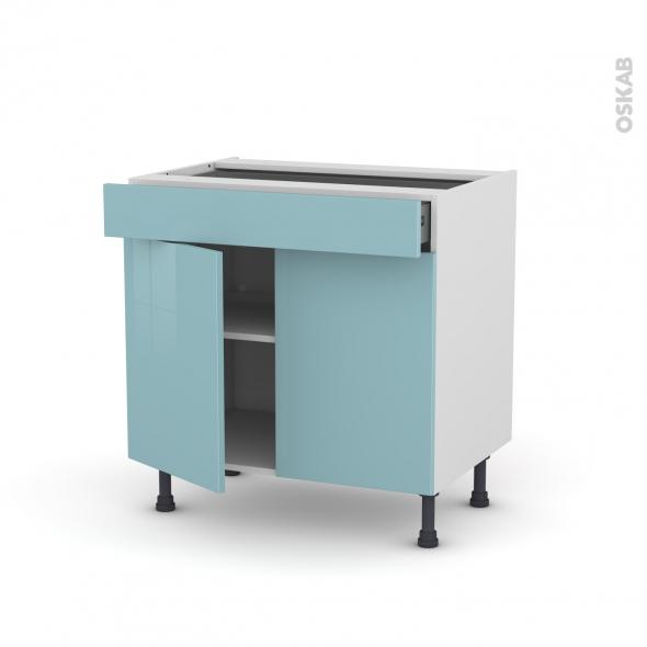 Meuble de cuisine - Bas - KERIA Bleu - 2 portes 1 tiroir - L80 x H70 x P58 cm