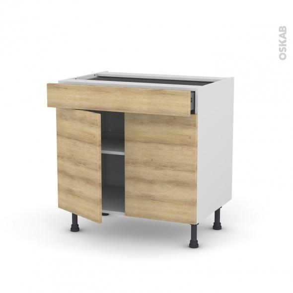 Meuble de cuisine - Bas - HOSTA Chêne naturel - 2 portes 1 tiroir - L80 x H70 x P58 cm