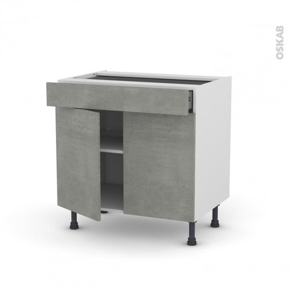 Meuble de cuisine - Bas - FAKTO Béton - 2 portes 1 tiroir - L80 x H70 x P58 cm