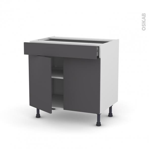 Meuble de cuisine - Bas - GINKO Gris - 2 portes 1 tiroir - L80 x H70 x P58 cm