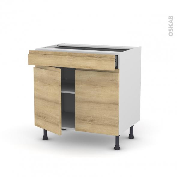 Meuble de cuisine - Bas - IPOMA Chêne naturel - 2 portes 1 tiroir - L80 x H70 x P58 cm