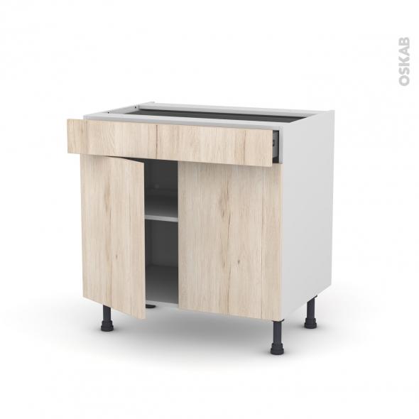 Meuble de cuisine - Bas - IKORO Chêne clair - 2 portes 1 tiroir - L80 x H70 x P58 cm