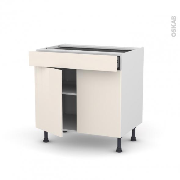Meuble de cuisine - Bas - KERIA Ivoire - 2 portes 1 tiroir - L80 x H70 x P58 cm