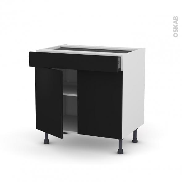 Meuble de cuisine - Bas - GINKO Noir - 2 portes 1 tiroir - L80 x H70 x P58 cm