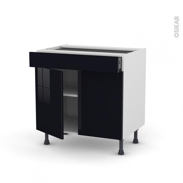 Meuble de cuisine - Bas - KERIA Noir - 2 portes 1 tiroir - L80 x H70 x P58 cm