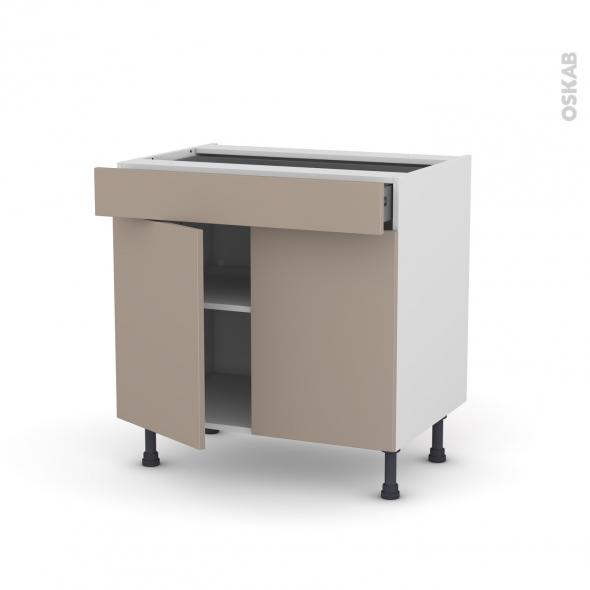 Meuble de cuisine - Bas - GINKO Taupe - 2 portes 1 tiroir - L80 x H70 x P58 cm