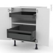 Meuble de cuisine - Bas - PIMA Blanc - 2 portes 2 tiroirs à l'anglaise - L60 x H70 x P58 cm