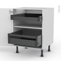 Meuble de cuisine - Bas - STECIA Blanc - 2 tiroirs à l'anglaise - L60 x H70 x P58 cm