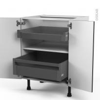 Meuble de cuisine - Bas - GINKO Gris - 2 portes 2 tiroirs à l'anglaise - L60 x H70 x P58 cm
