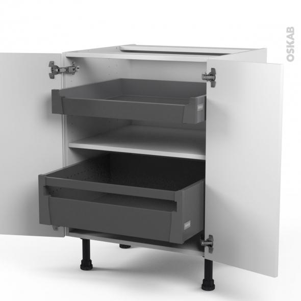 GINKO Blanc - Meuble bas - 2 portes - 2 tiroirs à l'anglaise - L60xH70xP58