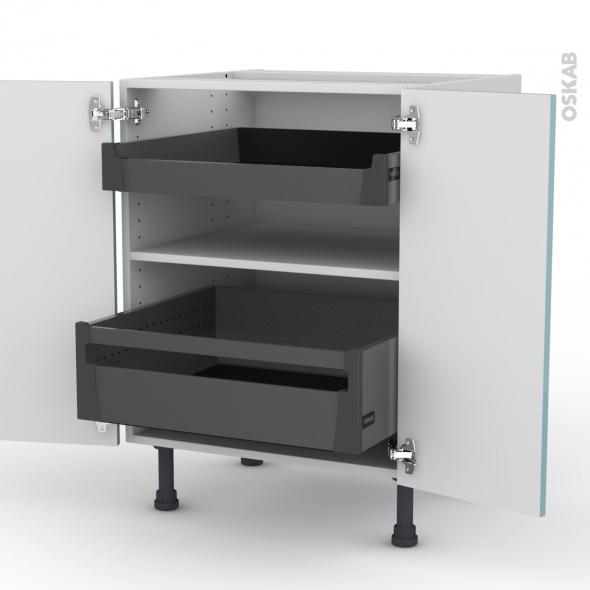 Meuble de cuisine - Bas - KERIA Bleu - 2 portes 2 tiroirs à l'anglaise - L60 x H70 x P58 cm