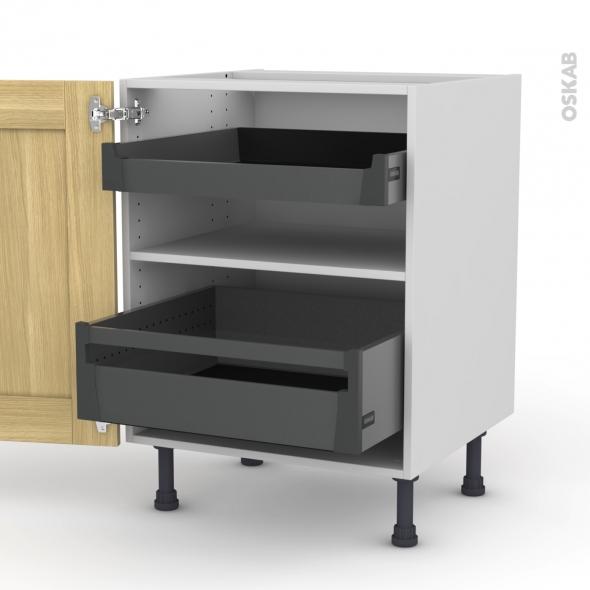 BASILIT Bois Brut - Meuble bas - 2 portes - 2 tiroirs à l'anglaise - L60xH70xP58