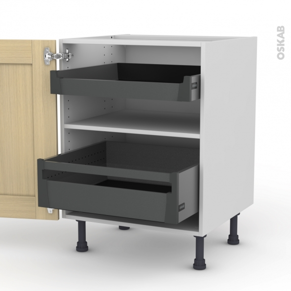 BASILIT Bois Vernis - Meuble bas - 2 portes - 2 tiroirs à l'anglaise - L60xH70xP58