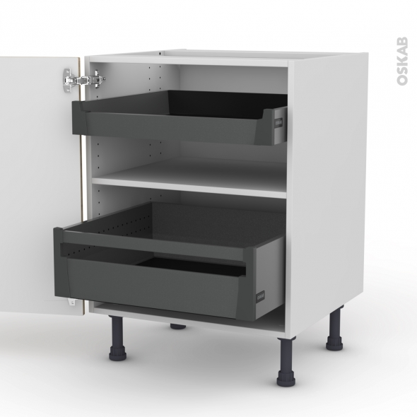 Meuble de cuisine - Bas - HOSTA Chêne naturel - 2 portes 2 tiroirs à l'anglaise - L60 x H70 x P58 cm