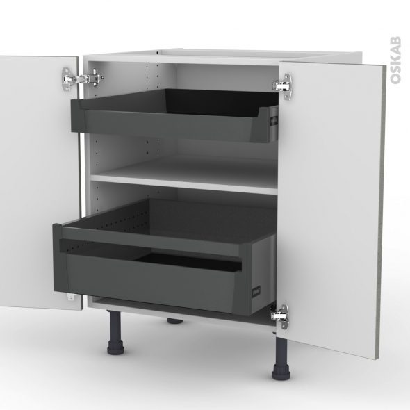 Meuble de cuisine - Bas - FAKTO Béton - 2 portes 2 tiroirs à l'anglaise - L60 x H70 x P58 cm