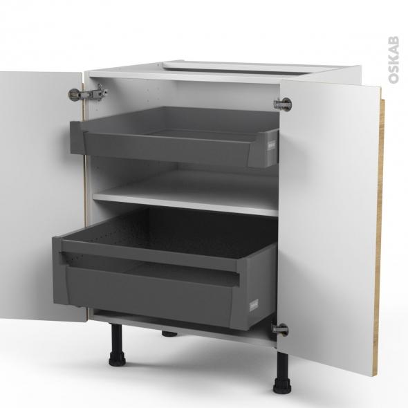 Meuble de cuisine - Bas - IPOMA Chêne naturel - 2 portes 2 tiroirs à l'anglaise - L60 x H70 x P58 cm
