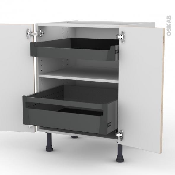Meuble de cuisine - Bas - IKORO Chêne clair - 2 portes 2 tiroirs à l'anglaise - L60 x H70 x P58 cm