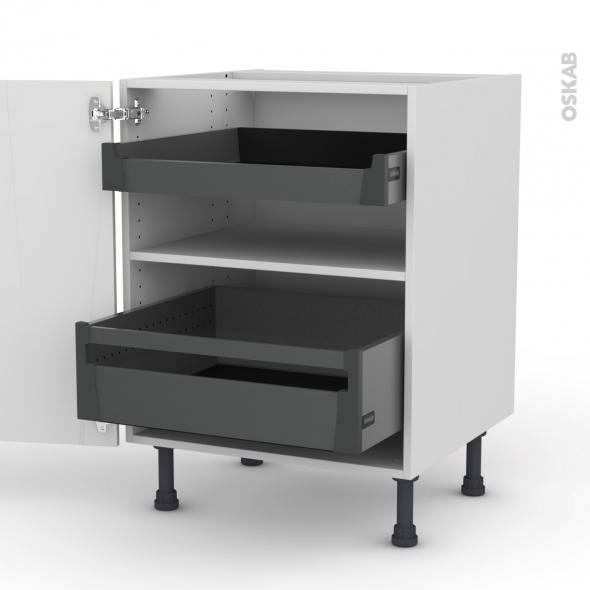 SILEN Ivoire - Meuble bas - 2 portes - 2 tiroirs à l'anglaise - L60xH70xP58