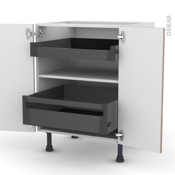 KERIA Moka - Meuble bas - 2 portes - 2 tiroirs à l'anglaise - L60xH70xP58