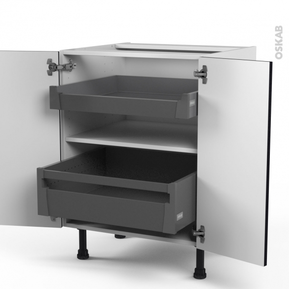 GINKO Noir - Meuble bas - 2 portes - 2 tiroirs à l'anglaise - L60xH70xP58