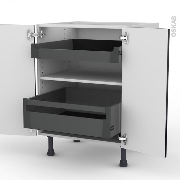 Meuble de cuisine - Bas - KERIA Noir - 2 portes 2 tiroirs à l'anglaise - L60 x H70 x P58 cm