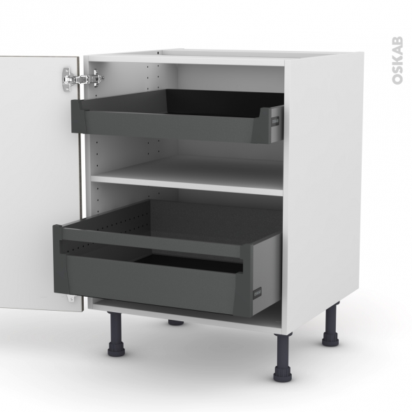STILO Noyer Naturel - Meuble bas - 2 portes - 2 tiroirs à l'anglaise - L60xH70xP58