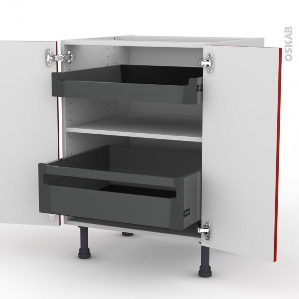 GINKO Rouge - Meuble bas - 2 portes - 2 tiroirs à l'anglaise - L60xH70xP58