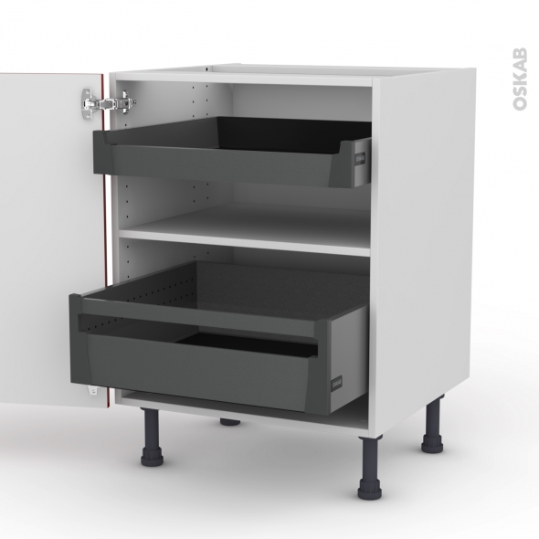 Meuble de cuisine - Bas - STECIA Rouge - 2 portes 2 tiroirs à l'anglaise - L60 x H70 x P58 cm