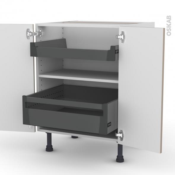 Meuble de cuisine - Bas - GINKO Taupe - 2 portes 2 tiroirs à l'anglaise - L60 x H70 x P58 cm