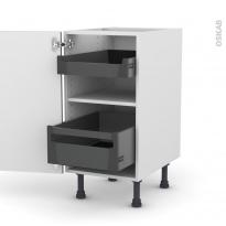 Meuble de cuisine - Bas - GINKO Gris - 2 tiroirs à l'anglaise - L40 x H70 x P58 cm