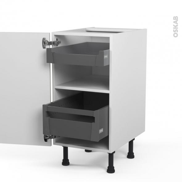 SILEN Argile - Meuble bas - 2 tiroirs à l'anglaise - L40xH70xP58 - gauche