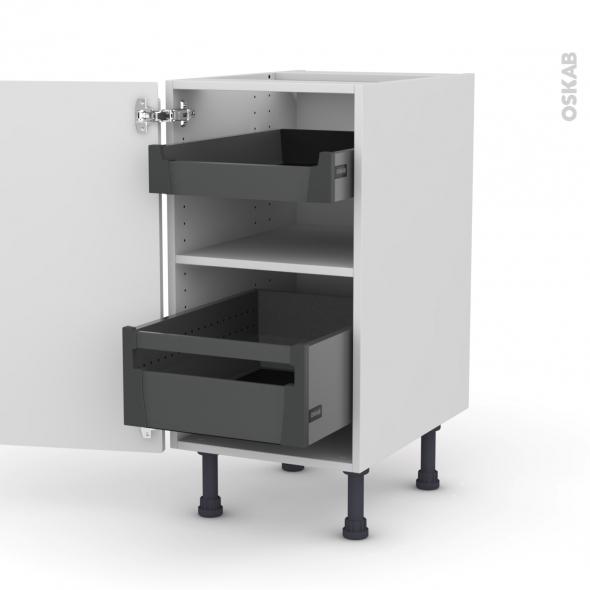 Meuble de cuisine - Bas - IPOMA Blanc brillant - 2 tiroirs à l'anglaise - L40 x H70 x P58 cm