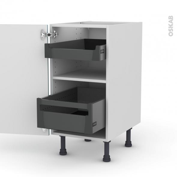 Meuble de cuisine - Bas - KERIA Bleu - 2 tiroirs à l'anglaise - L40 x H70 x P58 cm