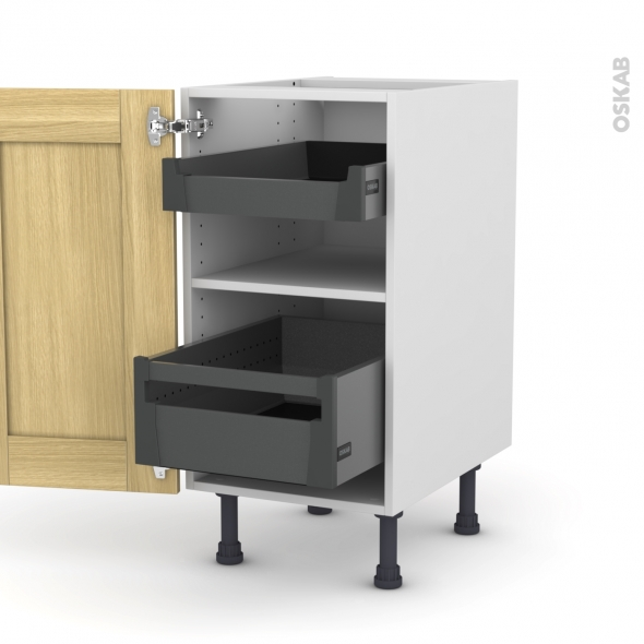 BASILIT Bois Brut - Meuble bas - 2 tiroirs à l'anglaise - L40xH70xP58