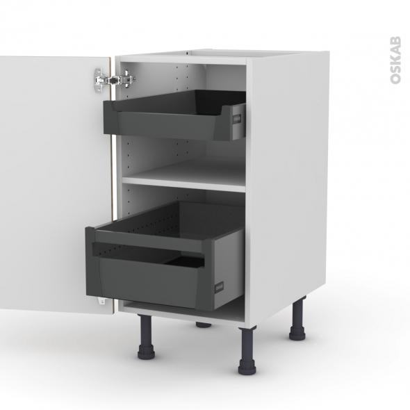 Meuble de cuisine - Bas - HOSTA Chêne naturel - 2 tiroirs à l'anglaise - L40 x H70 x P58 cm