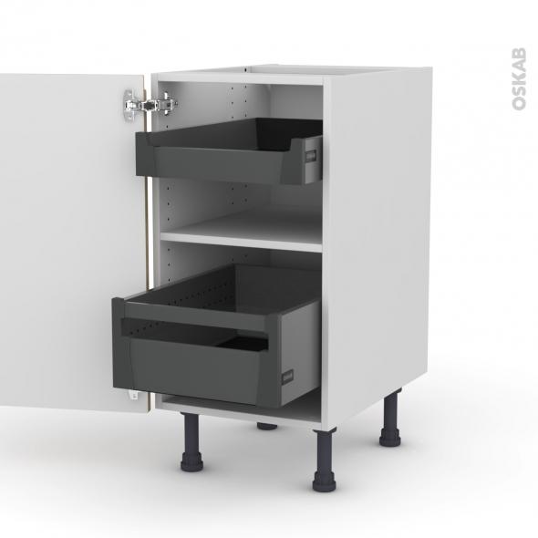 Meuble de cuisine - Bas - IPOMA Chêne naturel - 2 tiroirs à l'anglaise - L40 x H70 x P58 cm