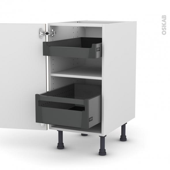 Meuble de cuisine - Bas - KERIA Moka - 2 tiroirs à l'anglaise - L40 x H70 x P58 cm
